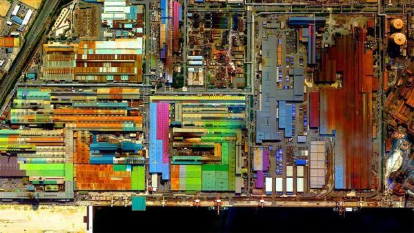 Industrial area in the city of Tokai, Aichi Prefecture, Japan