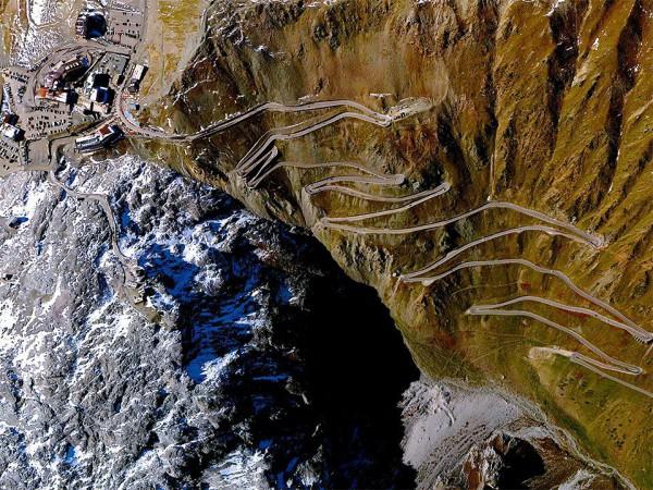 The Stelvio pass in the Italian Alps