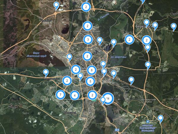 Карта камер ГИБДД на территории Свердловской области
