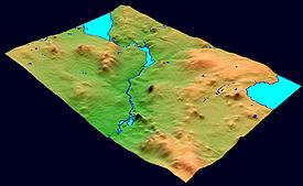 Карта рельефа, совмещенная с элементами гидрографической сети